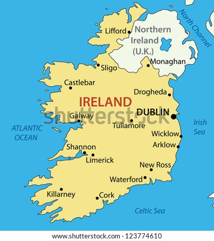 Republic of Ireland - vector map - stock vector