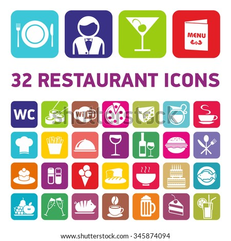 32 restaurant icons. Set of cookware flat icons, fast-food culinary and kitchenware equipment, meals and food preparation elements. Pizza, Burger, Coffee, vector illustration collection.
