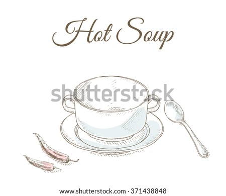 Restaurant menu cover card. Empty plate, fork and knife. Tableware. Hot soup. Dishes set. Dinnerware: plate, spoon, bowl. Kitchenware and cutlery hand dawn illustration. - stock vector