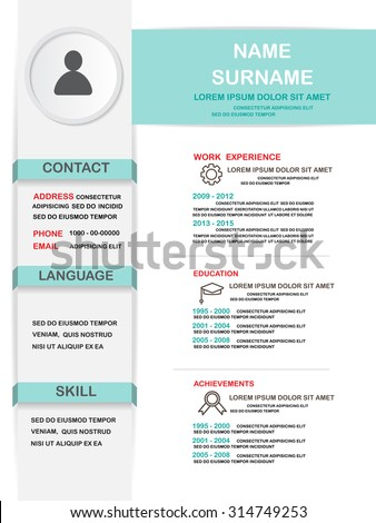 Resume (cv) Template Infographics Background And Element, Can Be Used For  Personal Statistic  Resume Cv Template