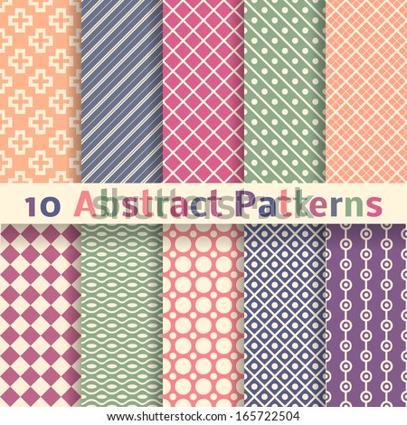 10 Retro abstract vector seamless patterns (tiling). Endless texture can be used for wallpaper, pattern fills, web page background, surface textures. Set of pastel monochrome geometric ornaments. - stock vector