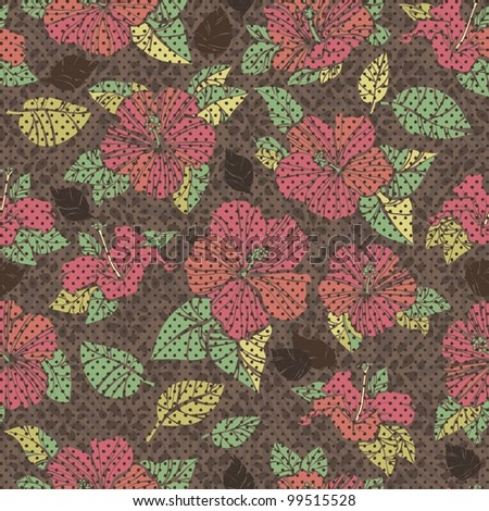 retro brown  Seamless hibiscus pattern.repeating floral pattern - stock vector