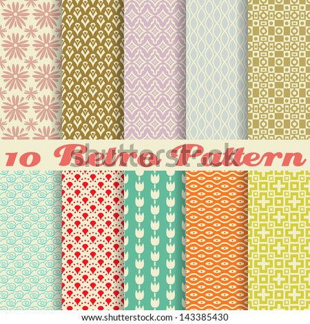 10 Retro different vector seamless patterns (tiling). Endless texture can be used for wallpaper, pattern fills, web page background,surface textures. Set of monochrome geometric ornaments. - stock vector