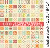 100 Retro different vector seamless patterns (with swatch). Endless texture can be used for wallpaper, pattern fills, web page background, surface textures. Set of vintage color geometric ornaments. - stock photo