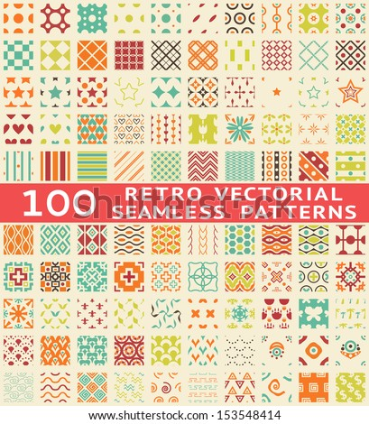 100 Retro different vector seamless patterns (with swatch). Endless texture can be used for wallpaper, pattern fills, web page background, surface textures. Set of vintage color geometric ornaments. - stock vector