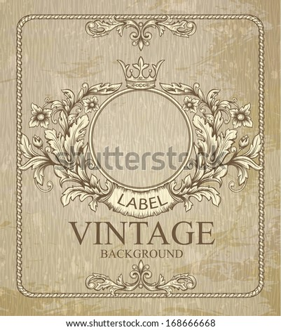 Retro floral cartouche.  Hand drawn  banner and ribbon vector illustration with texture added.  - stock vector