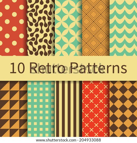 10 Retro geometric different vector seamless patterns (tiling). Endless texture can be used for wallpaper, pattern fills, web page background, textures. Set of monochrome geometric ornaments. - stock vector