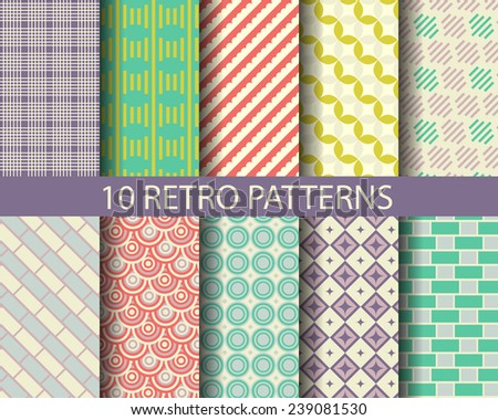 10 retro geometrical patterns, Pattern Swatches, vector, Endless texture can be used for wallpaper, pattern fills, web page,background,surface - stock vector