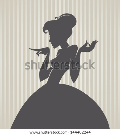 retro girl silhouette on striped background - stock vector