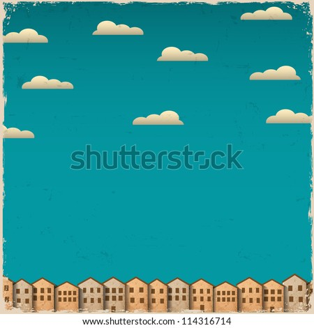 Retro paper town on grunge background. Vector illustration - stock vector