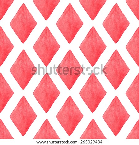 Retro red harlequin background. Seamless watercolor pattern with romb on the white background, aquarelle. Vector illustration. Hand-drawn decorative element. Real watercolor painting - stock vector