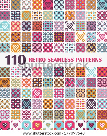 110 Retro Seamless Patterns With Valentines Hearts For Your Design - stock vector