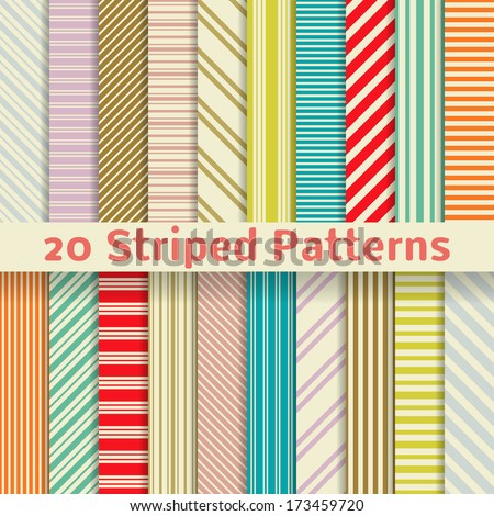 20 Retro striped vector seamless patterns (tiling). Textures for wallpaper, fills, web page background, surface. Set of monochrome geometric ornaments. Yellow, red, orange, blue and purple colors. - stock vector