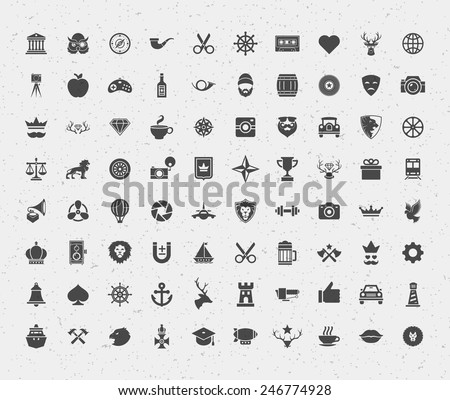 80 retro style objects for isnsignia, logotypes, t shirt, label design. Constains objects and icons: hipster, deer, lions, hipster, crown, bear, heart and other. Vector illustration.  - stock vector
