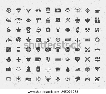80 retro style objects for isnsignia, t shirt, label design. Constains objects and icons: hipster, deer, lions, hipster, crown, bear, heart and other. Vector illustration.  - stock vector