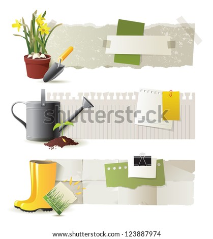 3 retro - styled gardening banners - stock vector