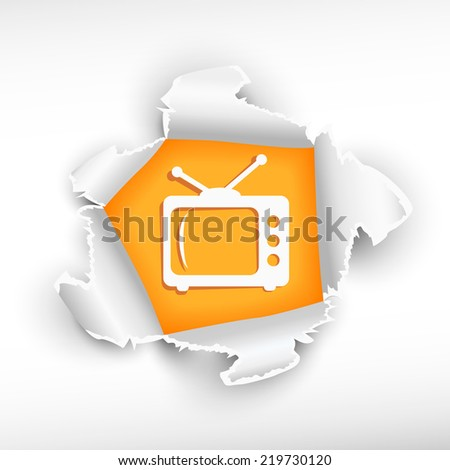 Retro TV and breakthrough paper hole with ragged edges    - stock vector