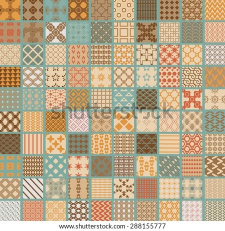 100 Retro vector seamless geometrical patterns.Endless texture  for Wallpaper, pattern fills the background of the web page, surface textures.Triangles, lines, squares, circles in different versions
