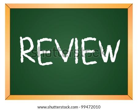 """review"" word written on chalkboard - stock vector"