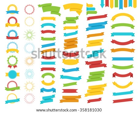 Ribbon, award and sunburst flat style color set. Vector Illustration