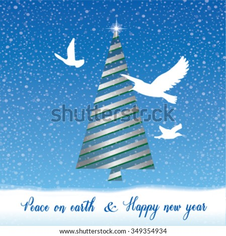 ribbon Christmas tree and doves in the snow background - stock vector
