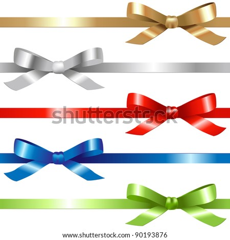 5 Ribbons,  Isolated On White Background, Vector Illustration - stock vector