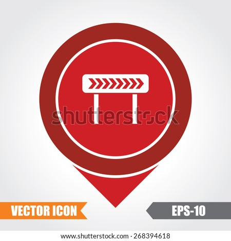 Right Diversion Icon On Map Pointer. Eps.-10. - stock vector