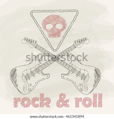 Rock & roll card With Guitars And Skull. Vector, Chalkboard Design