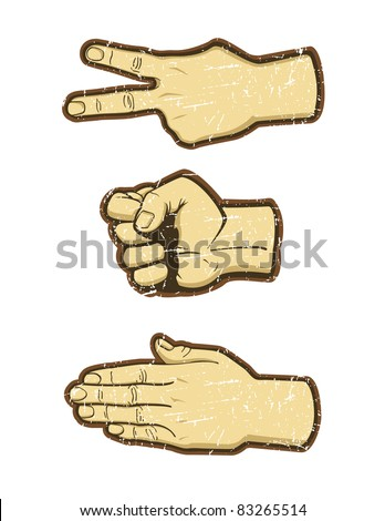 """Rock, Scissors, Paper"" Hand Game. - stock vector"