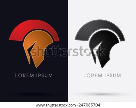 Roman or Greek  Helmet , Spartan Helmet, Head protection, warrior, soldier, logo, symbol, icon, graphic, vector. - stock vector