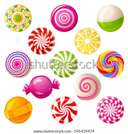13 round bright lollipops over white background - stock vector