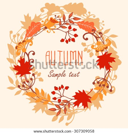 Round frame of autumn leaves. Autumn, leaves, wreath.  Vector illustration - stock vector