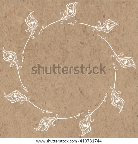 Round frame of decorative arrows. Hand-drawn vector illustration on kraft background.