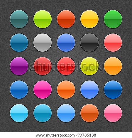 25 round glossy web button. Blank colored shapes with drop shadow on dark gray background with noise texture effect. Vector illustration saved 10 eps. See more icons and web forms in my gallery - stock vector