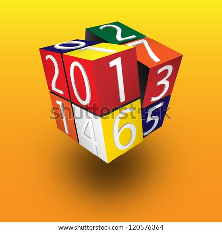 2013 Rubik Cube - stock vector
