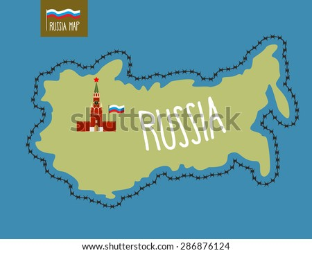 Russia Map. Russia surrounded by barbed wire. Kremlin in Moscow. Vector illustration  - stock vector