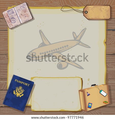 Rustic vintage Bon Voyage Party Invitation with passport, stamps to destinations, luggage and tag on old vintage paper with globe map and airplane set against a woodgrain background.