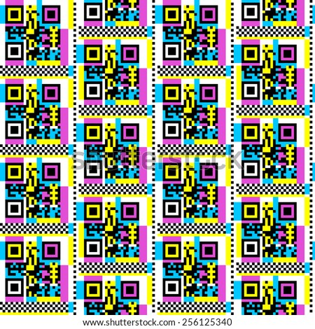 80s inspired QR code pattern - stock vector