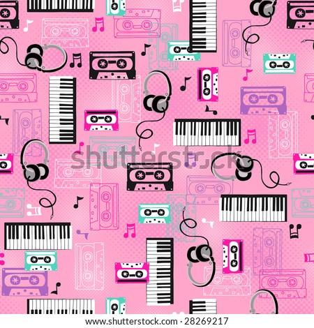 80s Keyboards and Cassette Tapes Seamless Repeat Pattern Vector Illustration - stock vector