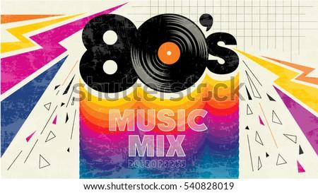 80s Music Mix Retro Style 80s Imagem Vetorial De Banco 540828019 Shutterstock