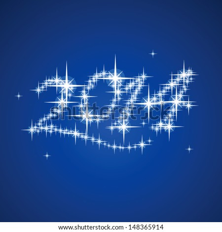 2014's New Year vector stars numbers composition - stock vector
