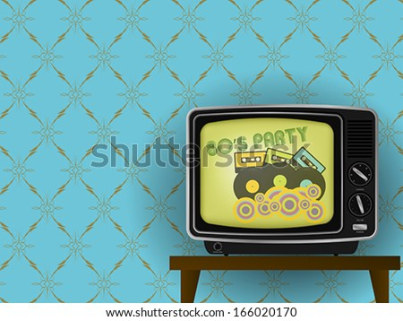 80s Party - Illustration of Retro TV With Luxury Vintage Wallpaper in Background