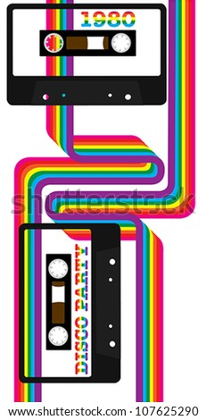 80's Party - Retro Audio Cassette Tapes and Rainbow Ribbons on White Background - stock vector