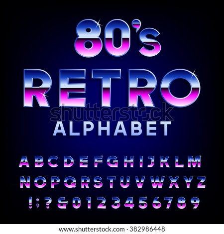 80's retro alphabet vector font. Metallic effect shiny letters and numbers. Vector typography for flyers, headlines, posters etc. - stock vector
