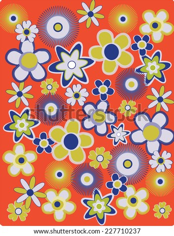 1960's Retro Blue, Green and Orange Flower Background - Vector