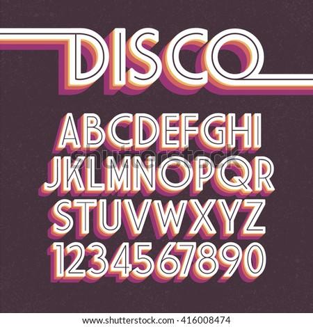 80's Retro Font. Vector disco alphabet - stock vector