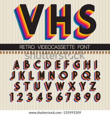 la times sports letters to the editor 90s retro font vector vhs alphabet image vectorielle 18916
