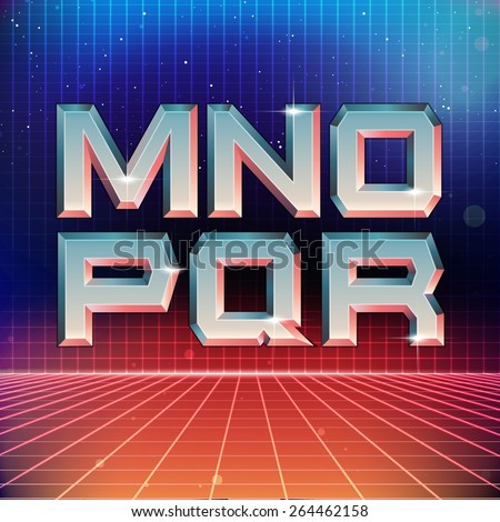 80s Retro Futuristic Font from M to R - stock vector