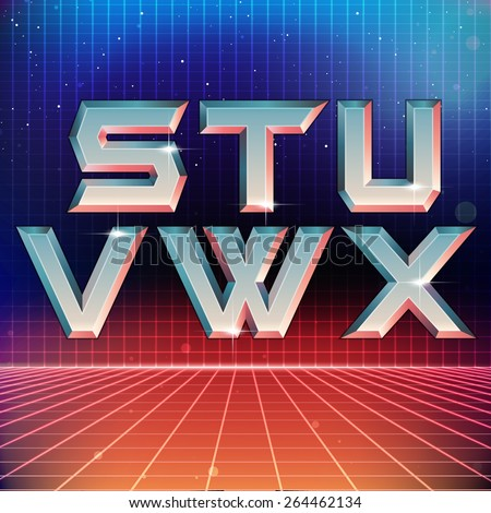 80s Retro Futuristic Font from S to X - stock vector