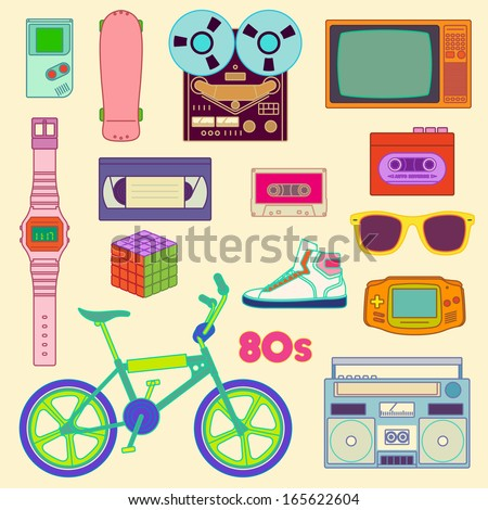 80s Retro lifestyle objects / 80s Retro objects - stock vector